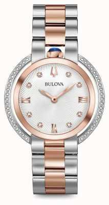 Bulova Womans rubaiyat twee toon diamant horloge 98R247