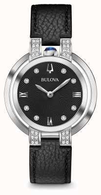 Bulova Womans rubaiyat zwart lederen riem diamanten set 96R217