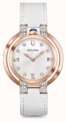 Bulova Womans rubaiyat witte lederen riem diamanten set 98R243