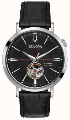 Bulova Heren automatisch zwart lederen horloge 96A201