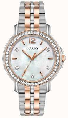 Bulova Womans twee toon kristal horloge 98L242