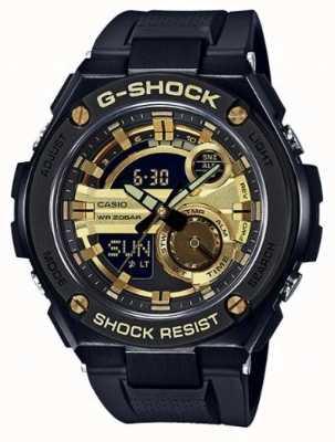 Casio G-stalen zwarte en gouden rubberen riemmen g-shock GST-210B-1A9ER