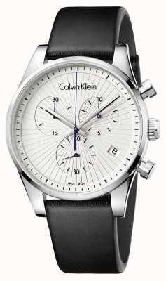 Calvin Klein Unisex standvastige chronograaf zwart leer K8S271C6