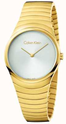 Calvin Klein Womans gouden toon roestvrij staal whirl horloge K8A23546