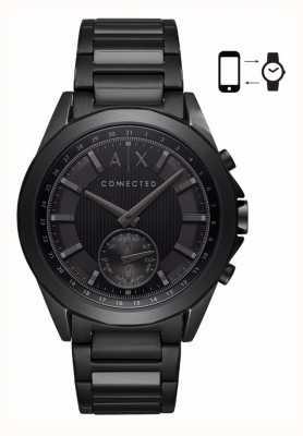 Armani Exchange Mens hybride smartwatch ijzeren vergulde armband zwarte wijzerplaat AXT1007