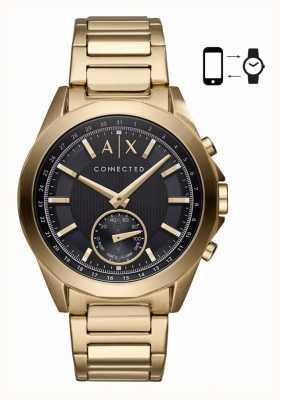 Armani Exchange Mens hybride smartwatch gouden toon armband zwarte wijzerplaat AXT1008