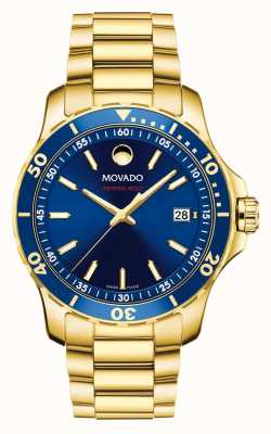 Movado Serie 800 blauwe wijzerplaat verguld 2600144
