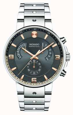 Movado Mens zie piloot retrograde horloge grijze wijzerplaat 0607130