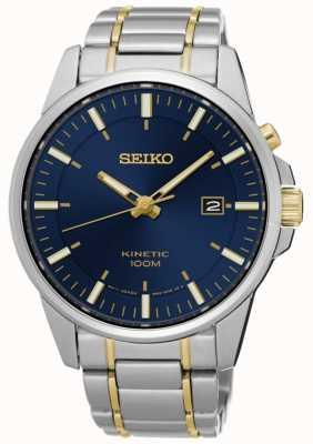 Seiko Mens kinetische twee toon armband blauwe wijzerplaat SKA757P1