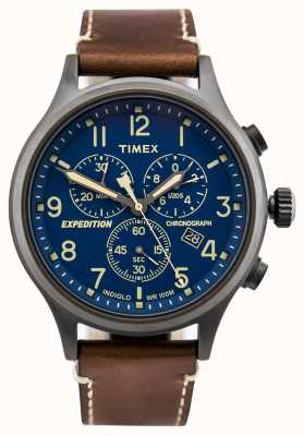 Timex Expedition scout chronograaf bruine riem blauwe wijzerplaat TW4B09000D