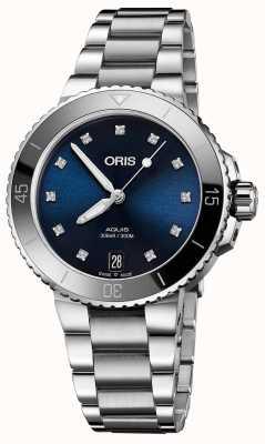 Oris Vrouwen aquis diamant set stalen horloge 01 733 7731 4195-07 8 18 05P