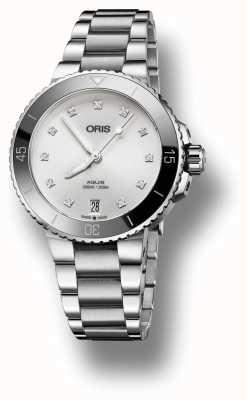 Oris Vrouwen aquis diamant set stalen horloge 01 733 7731 4191-07 8 18 05P