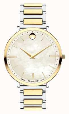 Movado Vrouwen ultra slanke twee toon horloge 0607171
