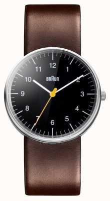 Braun Mens bruin lederen riem horloge BN0021BKBRG
