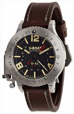 U-Boat Limited edition u-42 gmt 50 mm bruine lederen band 8095