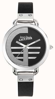 Jean Paul Gaultier Vrouwenindex g zwarte leren band zwarte wijzerplaat JP8504315