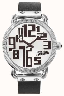 Jean Paul Gaultier Mens index zwart lederen riem zilveren wijzerplaat JP8504405