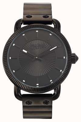 Jean Paul Gaultier Heren index zwart roestvrij staal armband zwarte wijzerplaat JP8504402