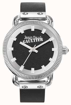 Jean Paul Gaultier Heren index zwarte lederen band zwarte wijzerplaat JP8504407