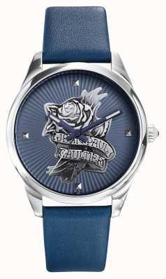 Jean Paul Gaultier Navy tatoo blauw lederen riem blauwe wijzerplaat JP8502413