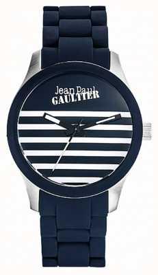 Jean Paul Gaultier Enfants verschrikkelt blauw rubberen stalen armband blauwe wijzerplaat JP8501118