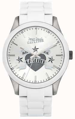 Jean Paul Gaultier Enfants terribles witte rubberen stalen armband witte wijzerplaat JP8501123