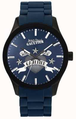 Jean Paul Gaultier Enfants verschrikkelijke blauwe rubberen stalen armband blauwe wijzerplaat JP8501124