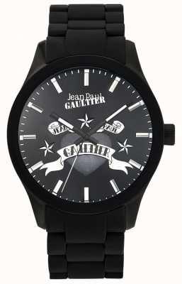 Jean Paul Gaultier Enfants verschrikkelijke zwarte rubberen armband zwarte wijzerplaat JP8501125
