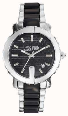 Jean Paul Gaultier Womens point g rvs armband zwarte wijzerplaat JP8500513