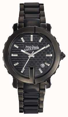 Jean Paul Gaultier Dames punt g zwart roestvrij staal armband zwarte wijzerplaat JP8500514