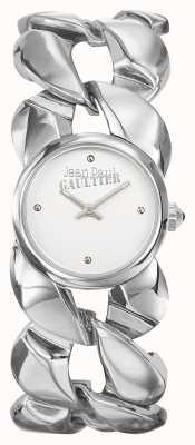 Jean Paul Gaultier Dames maxi chaine roestvrij stalen armband zilverkleurige wijzerplaat JP8504601