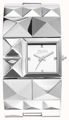 Jean Paul Gaultier Dames over de punk roestvrij stalen armband zilveren wijzerplaat JP8504502