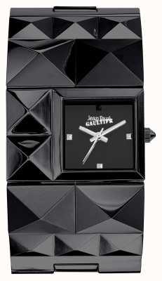 Jean Paul Gaultier Dames over punk black pvd armband zwarte wijzerplaat JP8504503