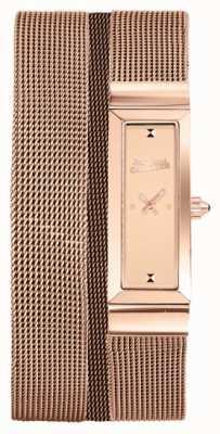 Jean Paul Gaultier Dames cote de maille rose goud pvd mesh armband rose wijzerplaat JP8503906