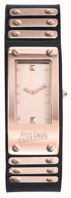 Jean Paul Gaultier Factory zwarte lederen band rosé gouden wijzerplaat JP8503803