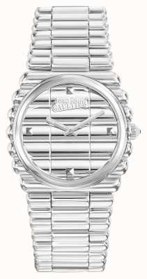 Jean Paul Gaultier Dames bordcote roestvrij staal armband zilverkleurige wijzerplaat JP8504101