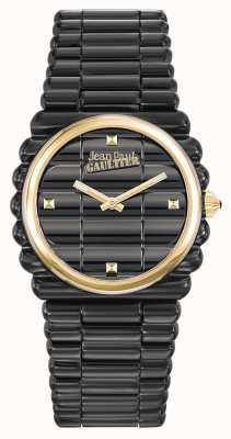 Jean Paul Gaultier Informele wijzerplaat zwart pvd armband zwarte wijzerplaat JP8504105