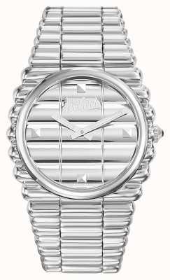 Jean Paul Gaultier Heren bordcote roestvrij stalen armband zilverkleurige wijzerplaat JP8504201