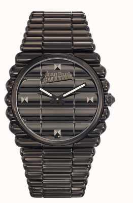 Jean Paul Gaultier Mens bord cote zwart pvd armband zwarte wijzerplaat JP8504203