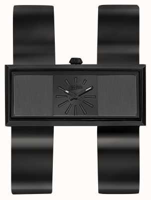 Jean Paul Gaultier Dubbele zwarte jeu zwarte pvd armband zwarte wijzerplaat JP8505007