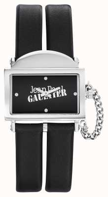 Jean Paul Gaultier Womens 325 zwarte lederen riem zwarte wijzerplaat JP8501609