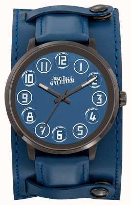 Jean Paul Gaultier Heren decroche blauwe lederen band blauwe wijzerplaat JP8504704