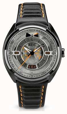 REC Porsche automatische zwarte lederen band grijze wijzerplaat 901-03
