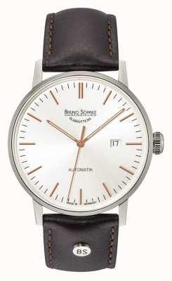 Bruno Sohnle Stuttgart grote automatische 44mm zwart lederen horloge 17-12173-245