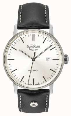 Bruno Sohnle Stuttgart grote automatische 44mm zilveren wijzerplaat zwart lederen horloge 17-12173-247