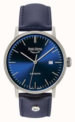 Bruno Sohnle Stuttgart grote automatische 44mm blauwe lederen horloge 17-12173-341
