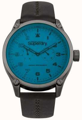 Superdry Heren blauwe wijzerplaat lederen band horloge SYG208UBR
