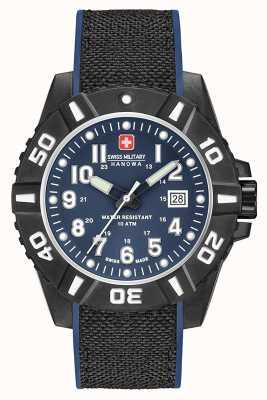Swiss Military Hanowa Zwarte carbon mat blauwe riem voor heren 06-4309.17.003SM