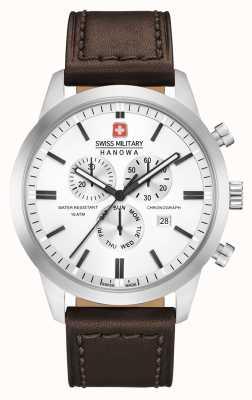 Swiss Military Hanowa Heren chrono classic bruin lederen band 06-4308.04.001