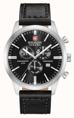 Swiss Military Hanowa Heren chrono classic zwart lederen band 06-4308.04.007
